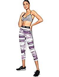 YourPrimeOutlet Grey Womens Lori Fit Printed Slogan 39;Run39; Capri Legging