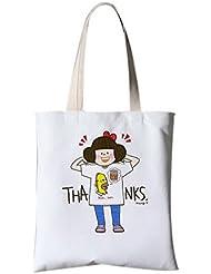 Petit sac en toile fraîche Épaule Messenger Impression Sac à main portable Une fille heureuse