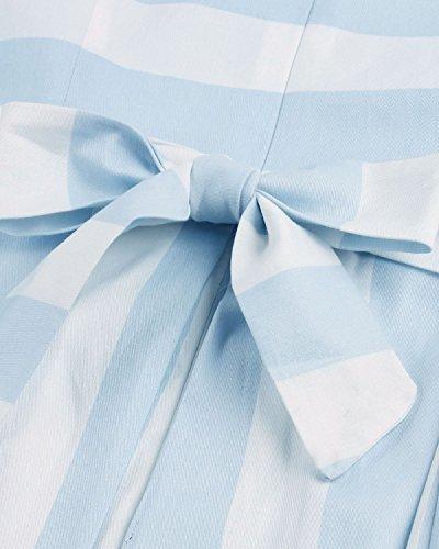ZAFUL Robe Vintage Rétro année 50 Audrey Hepburn Rockabilly Swing Sans Manches Robe de Soirée Grande Taille Robe de Cocktail Bleu clair