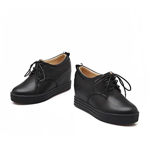 AllhqFashion Femme Lacet Rond à Talon Haut Pu Cuir Couleur Unie Chaussures Légeres Noir