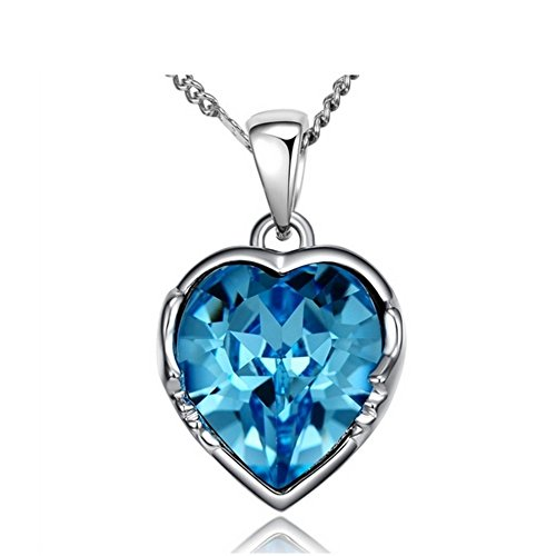NEVI Swarovski Elements Blue Ocean Heart Pendant Fashion Jewellery for Women