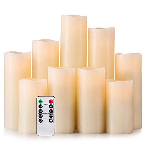 """LED Kerzen Set von 9 Flammenlose Kerzen Batteriebetriebene Kerzen H 4 \""""5\"""" 6 \""""7\"""" 8 \""""9\"""" Echtwachssäule Kerzen Flackern mit Fernbedienung und Timer-Steuerung, Elfenbein Farbe"""