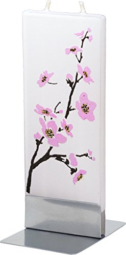 flatyz-pink-flowering-tree-twin-wick-thin-flat-candle-decorative-functional