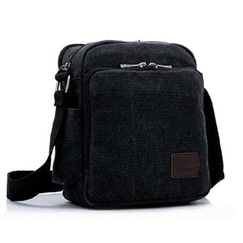 Outreo Borsa Tracolla Uomo Borse da Spalla di Tela Canvas Messenger Bag Vintage Sacchetto di Tablet Piccolo Borsello per Studenti Scuola Università Tasche Viaggio Outdoor Sport Tasca (Verde) Nero