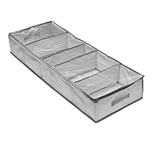 Addis Home Wardrobe Underbed Storage Organisation 5 Compartment Clothes Bedding Bag with Full Zip Window, Grey, Section