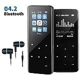 Lecteur MP3 avec Bluetooth 4.2 16GB Lecteur mp3 Bluetooth Lecteur Audio Portable avec Radio FM Enregistreur Vocal Bouton Tactile MP3 Bluetooth Baladeur de Musique Prise en Charge Jusqu'à 128 Go