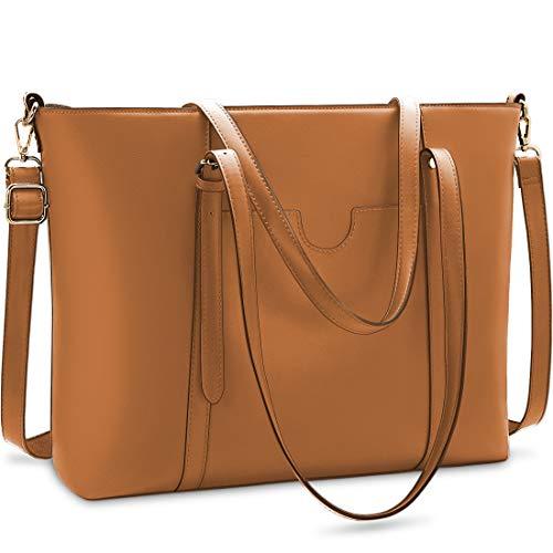 NUBILY Handtasche Shopper Damen Groß 15.6 Zoll PU Leder Shopper Braun Laptop Umhängetasche Gross Business Aktentasche Frauen Retro Schule Taschen