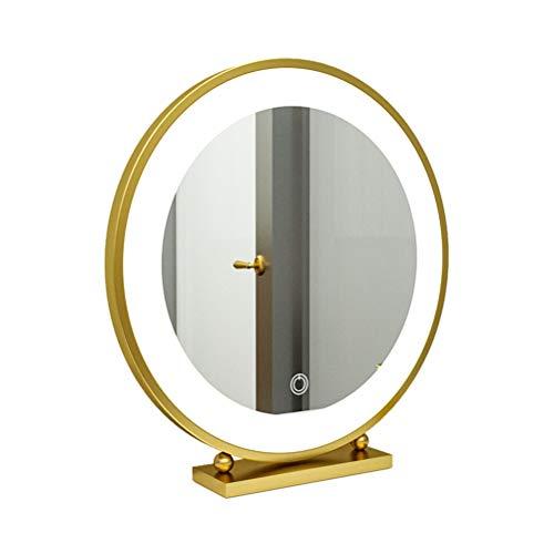 Espejo de escritorio regulable con luz LED redonda