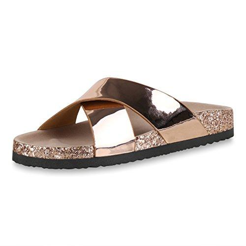 SCARPE VITA Damen Sandalen Lack Pantoletten Glitzer Hausschuhe Sommer Schuhe 167576 Rose Gold 40
