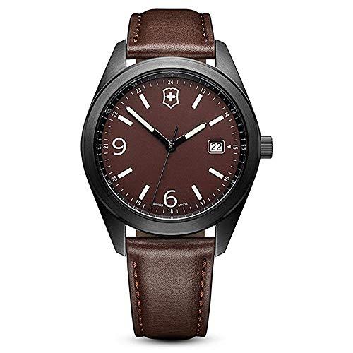 d084611ffe00 Victorinox Reloj Cuarzo 40mm Correa de Cuero Caja de Acero dial Negro 26076