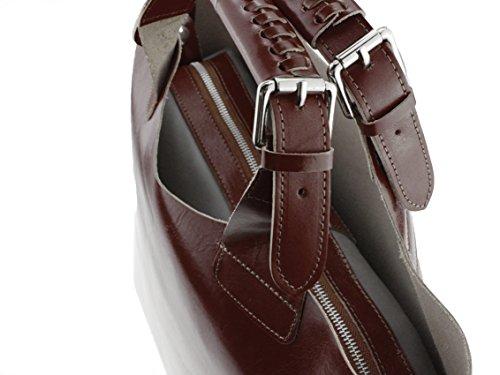 "bag2basics XL Shopper Tote-Bag ""Jolie""   100% Leder   H43 x B33 x T15,5 in diversen Farben Dunkelbraun"