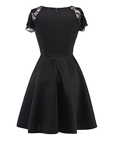 Femme Deep V-cou Lâce Manche Courte Haut Mini-Robe Noir