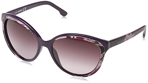 Diesel - occhiali da sole dl0009 wayfarer, dark violet with rose pattern / gradient wine red
