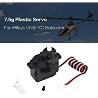 Price comparsion for 7.5g Plastic Gear Analog Servo 4.8-6V for Wltoys V950 RC Helicopter Airplane Part Replacement Accessaries(Color:Black)