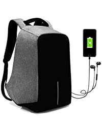 Kossh 15 Ltrs Grey Anti Theft Waterproof Backpack with Earphone - USB  Charging Port 8cf6fad4d7