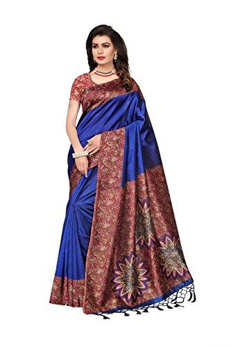 Indira Designer Women's Blue Color Art Mysore Silk Saree With Blouse