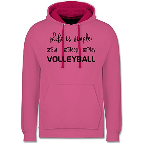 Volleyball - Life is simple Volleyball - Kontrast Hoodie Rosa/Fuchsia