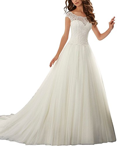 Fanciest Damen Cap Sleeve Tulle Spitzen Brautkleider for Bride 2016 White UK20