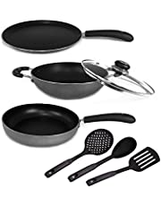 Kumaka Premium Quality 7 Piece Hammertoned 3mm Thickness Non - Stick Induction Cookware Set (Induction & Gas Compatible) with Heatproof Spoon