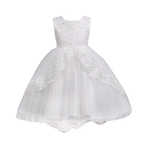 Longra vestito lungo ragazza senza maniche ricami pizzo gonna tutu bambini carnevale cosplay abiti principessa abito da sposa elegante cerimonia vestito 4-12 anni