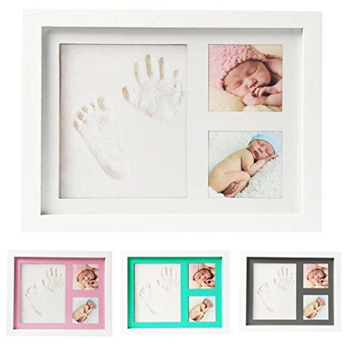 Baby Fussabdrück, Handabdrück und Bilderrahmen Set – Andenken Aufbewahrung – Baby Shower Geschenke für Jungen und Mädchen – Ton und Holzfotorahmen- Wandbefestigung und Tischstander inklusive