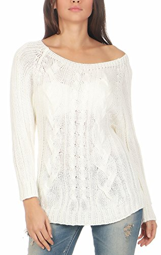 malito maglione Basic maglia 7319 Donna Taglia Unica Bianco