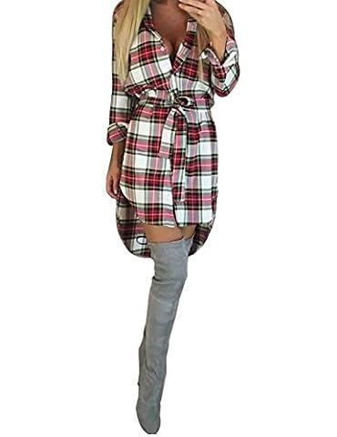 ISASSY Mini Robe à Carreaux Plaid Chemisier Chemise Longue Avec Ceinture à Manches Longues Sexy Blanc/rouge - Taille L