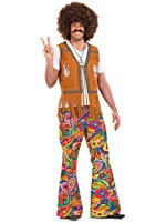 Mens PSYCHEDELIC FLARES for 60's 70's Groovy Hippy Hippie Adult Fancy Dress Costume XL