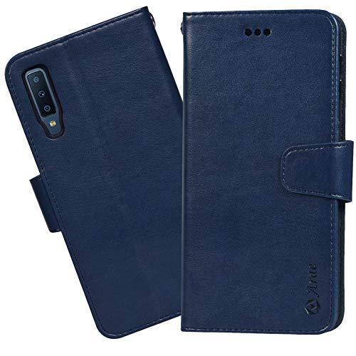 Arae Samsung Galaxy A7 2018 Hülle, Handyhülle Samsung Galaxy A7 2018 Tasche Leder Flip Cover Brieftasche Etui Schutzhülle für Samsung Galaxy A7 2018 (Dunkelblau)