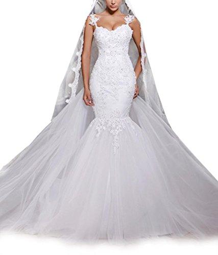 NUOJIA Meerjungfrau Brautkleider Tüll Spitze Hochzeitskleider Illusion Zurück Weiß 38