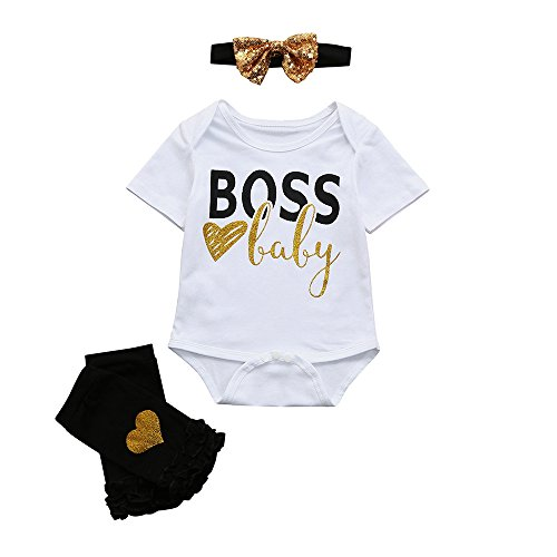 OVINEE 3 STÜCKE Neugeborenen Strampler Infant Girls Print Overall Kleidung Outfit Anzug Brief Strampler Tops + Leggings Set