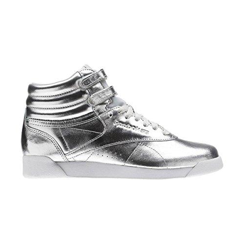 Reebok Damen Freestyle Hi Metallic Gymnastikschuhe, Silber (Silver Metsteelwhite), 38 EU (Freestyle Hi-sneaker)