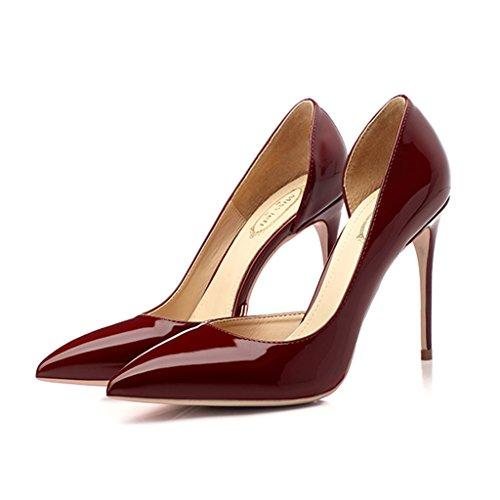 Scarpe per bambine e ragazze Décolleté a punta Laterali Bocca superficiale Fine con scarpe singole Scarpe da donna tacco alto 10cm (Color : Red wine, Size : 33)