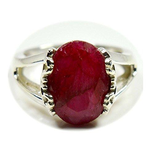 Gemsyogi Unisex Herren Damen - 925 Sterlingsilber Sterling-Silber 925 Oval Pink Rubin