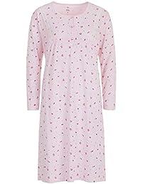 Moonline Damen Nachthemd hellblau rosa kurzarm Blumen geblümt Gr M L NEU!!!