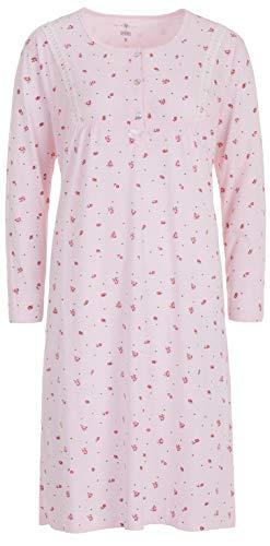 Zeitlos - Nachthemd Damen Spitze Borte Blumen Langarm, Farbe:rosa, Größe:M