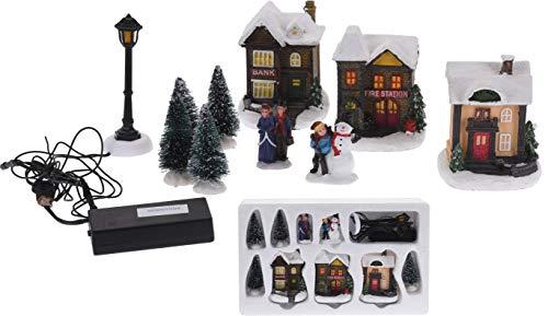Spetebo Weihnachtsdorf mit LED Beleuchtung - 10 Teile - Winterdorf beleuchtet und Batterie betrieben - Weihnachtsstadt Tischdeko