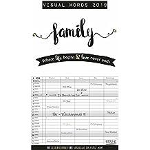 Visual Words Familienplaner  2019: Familienplaner mit 5 breiten Spalten. Typo-Art Familienkalender mit Ferienterminen, Zusatzspalte, Vorschau und vielem mehr.