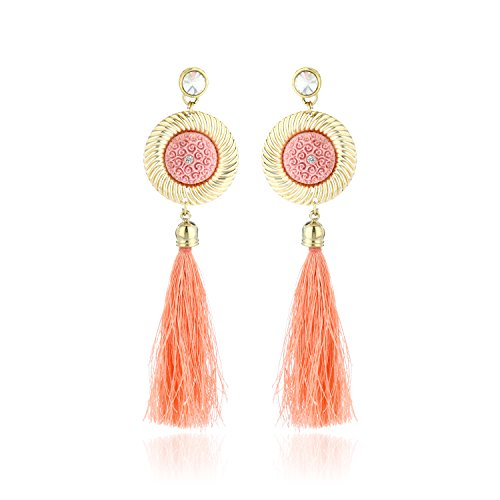 [LIEFERUNG IN 8-12 Werktagen] Fasherati Peach Floral Top And Long Silk Tassel Earrings For Women -