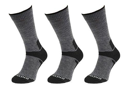 Nordic Wool (COMODO® TRE3 - 3er-SET TREKKINGSOCKEN 3/4 (40% Merinowolle Trekking Wandern Nordic Walking Bergsteigen), Farbe:D.Gray / Black;Größen:39-42)