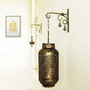 Sadhubela's Burni Diya Lantern with Hanger - Handcrafted Antique Golden Polished Spiritual Wall Decor Piece