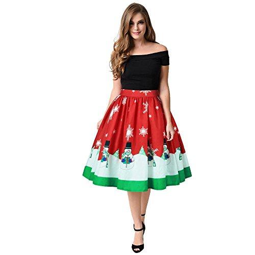 taottao Weihnachten Lady lang A-Line Rock Schneemann Xmas Tree Santa Claus Winter Sweet Print Ombre Kleid (Set Rock Ombre)