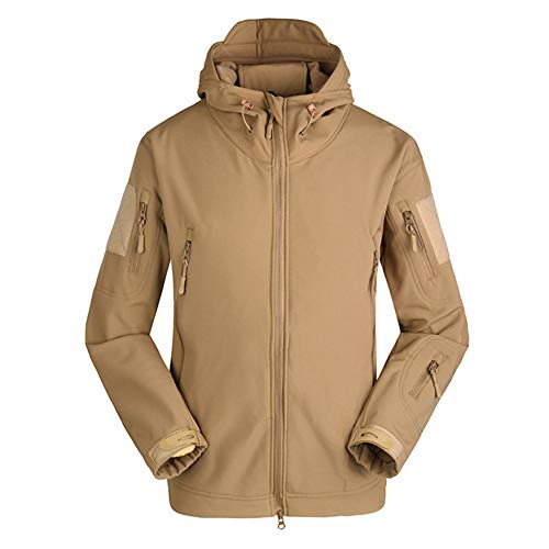 HAINE Herren Taktische Armee Outdoor Mantel Camouflage Softshell Jacke Jagd Jacken Oberbekleidung Haut Wasserdichte Regenjacke Windbreaker Khaki UK 2XL (Fit Brust 43