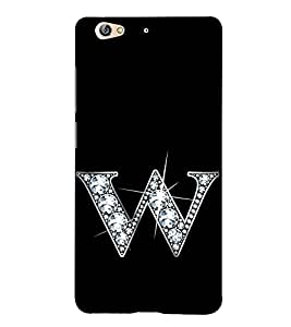 Alphabet W 3D Hard Polycarbonate Designer Back Case Cover for Gionee S6