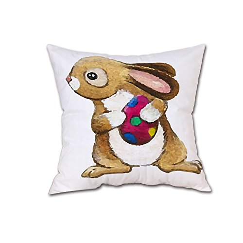 JMETRIC_Kissenbezug Ostern Kaninchen Hahn Karikatur Muster Kopfkissenbezug Festlicher Dekoration 40 Modelle Verfügbar (B)
