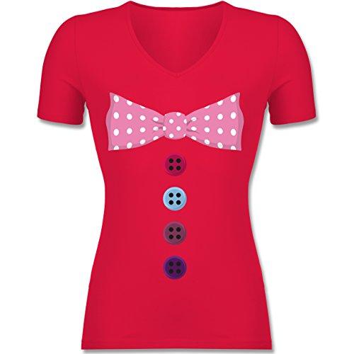 Shirtracer Karneval & Fasching - Clown Kostüm Rosa Fliege - Tailliertes T- Shirt mit V