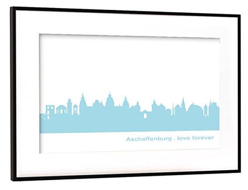artboxONE Poster mit Rahmen Schwarz (Metallic) 45x30 cm Aschaffenburg 08 Pastel-Blue Print von 44spaces