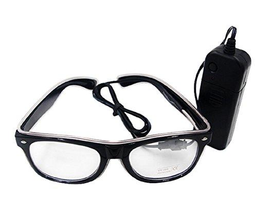 UTOVME EL Leuchtbrille Party Club LED Leuchten Brillen Partybrille Eyeglasses Nicht blendet mit Batterie Box Weiss