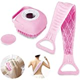 Anva 2 Pcs Combo Silicone Soft Bath Body Brush with Shampoo Dispenser Back Scrubber Deep Cleaning Gentle Massage Exfoliation
