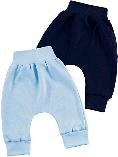 Klekle Baby Jungen Pump Baggy Mitwachs Stoff Hose 2er Set Uni Hellblau Uni Navy 22780 Größe 74 (Hellblau-strampler-hosen)
